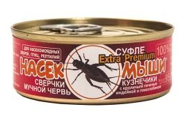 Корм консервированный Насекомыши - Сверчки, кузнечики, мучной червь, кроличья печень, индейка и гемоглобин / 95 г - арт.: 1244